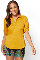 New York & Co. 7th Avenue - Madison Stretch Shirt - Popover - Gold
