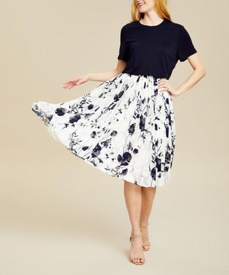 Ted Baker Women's Casual Dresses NAVY - Navy Bluebell Pleated Bekzi Popover Midi Dress - Women