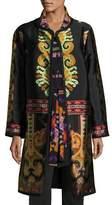 Etro Suzani Printed Silk Faille Car Coat, Black
