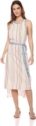 BCBGMAXAZRIA Azria Women's Sleeveless Striped Wrap Dress with Crisscross Back