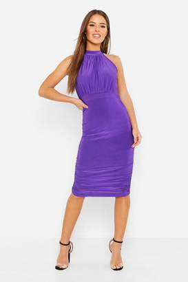 boohoo Petite High neck Ruched Bodycon Dress