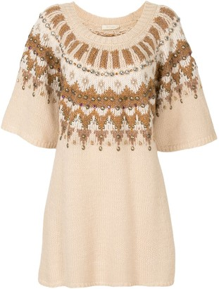 Mes Demoiselles Bead-Embellished Intarsia-Knit Dress