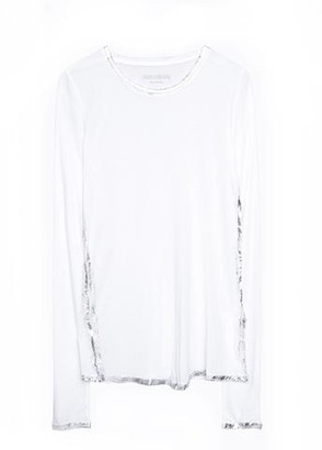 Zadig & Voltaire Willy White/Silver Foil Long Sleeve Tee