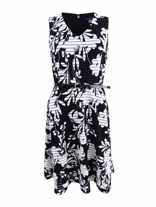 Tommy Hilfiger Women's V-Neck Sleeveless Fit and Flare Dress