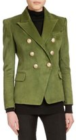 Balmain Classic Double-Breasted Suede Jacket, Olive