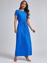 Dorothy Perkins Petite Cobalt Jersey Roll Sleeve Maxi Dress - Blue