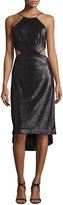 Halston Sleeveless Metallic High-Low Cutout Dress, Black