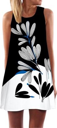 VJGOAL Women Loose Summer Vintage Sleeveless 3D Floral Print Bohemian O Neck Tank Short Mini A Line Sexy Beach Cool Party Sundresses Party DressBlue-A M