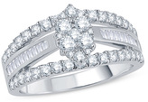 1 CT. T.W. Composite Diamond Marquise Split Shank Engagement Ring in 14K White Gold