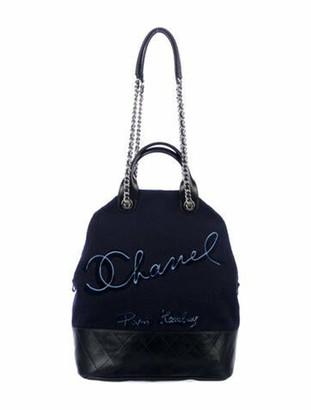 Chanel 2018 Paris-Hamburg Wool Large Shopping Bag Navy