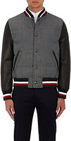 Moncler Gamme Bleu Men's Wool & Leather Down-Quilted Varsity Jacket-GREY