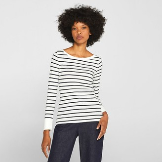 Esprit Striped Cotton T-Shirt with Boat-Neck