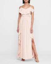 Express Cold Shoulder Ruffle Maxi Dress