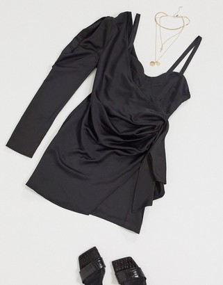 I SAW IT FIRST satin one shoulder dress in black