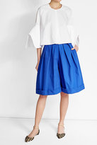 DELPOZO High-Waisted Pleated Cotton Shorts