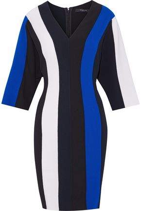 Derek Lam Striped Wool-Blend Crepe Dress