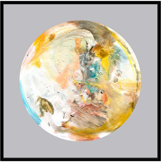 Jonathan Bass Studio Painterly Circle On Grey D, Decorative Framed Hand Embellished Canvas