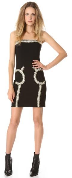 Moschino Embellished Strapless Dress