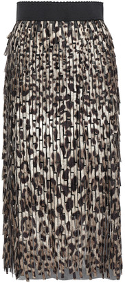 Dolce & Gabbana Embroidered Leopard-print Tulle Midi Pencil Skirt