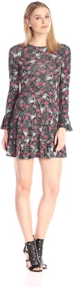 French Connection Women's Midnight Rose Jersey Long Sleeve Printed Dress