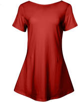 Lily Women's Tunics RED - Red Short-Sleeve Flared Tunic - Women & Plus