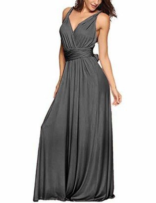 EMMA Women's Sexy V-Neck Ruffles Evening Dress Convertible Wrap Backless Cocktail Prom Dress Bandage Bridesmaid Elegant Skirt Long?PI