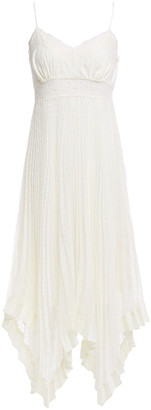 Zimmermann Espionage Lace-trimmed Pleated Swiss-dot Chiffon Midi Slip Dress