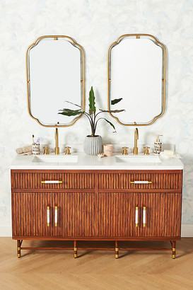 Anthropologie Deluxe Tamboured Double Bathroom Vanity By in Brown Size ALL