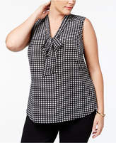 Kasper Plus Size Houndstooth-Print Shell
