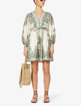 Zimmermann Brighton Paisley linen mini dress