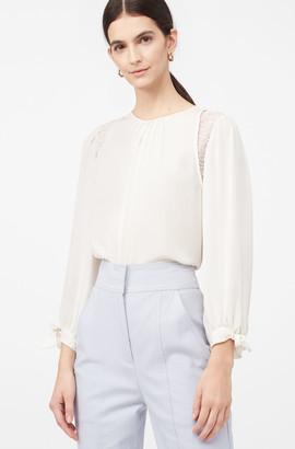Rebecca Taylor La Chemise Lace Inset Silk Top