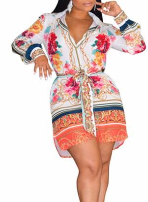 FOBEXISS Women's Long Sleeve Floral Mini Dress V Neck Button Shirt Dress Tie Knot Front Tank Dress Side Slit Work Dress Orange