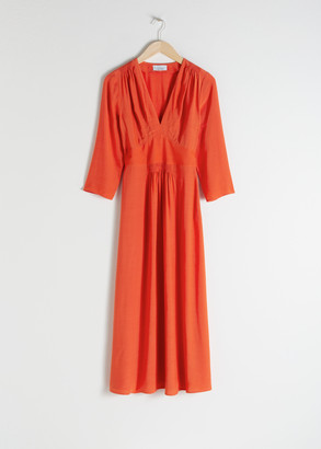 And other stories Long Sleeve Empire Midi Dress