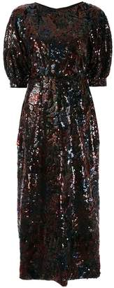 Costarellos sequinned floral midi dress