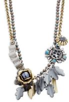 Gerard Yosca Faux Pearl and Flower Pendants Layered Necklace