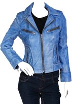 House of Leather Ladies Spring Summer Fitted Biker Leather Jacket KIM Denim (S )