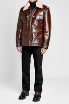 Calvin Klein Leather Jacket with Shearling Collar
