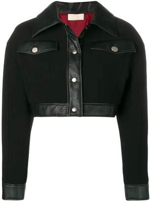 Sara Battaglia leather trim cropped jacket