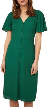 Warehouse Button Front Midi Dress