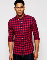 Asos Skinny Check Shirt in Twill with Long Sleeves
