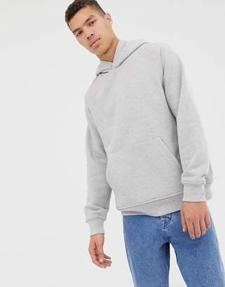 Asos oversized hoodie in heavyweight light gray marl jersey