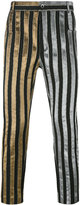 Haider Ackermann striped trousers - men - Cotton/Leather/Polyester/Spandex/Elastane - XS