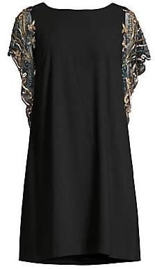 Aidan Mattox Women's Sequined Sleeve Shift Cocktail Dress - Size 0