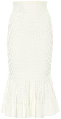 Alexander McQueen Wool-blend pencil skirt