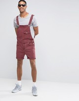 Asos Denim Short Overalls In Burgundy
