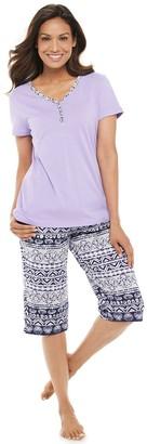 Croft & Barrow Women's Henley & Skimmer Capris Pajama Set