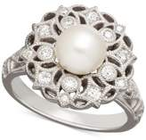 Arabella Cultured Freshwater Pearl (7mm) & Swarovski Zirconia Ring in Sterling Silver