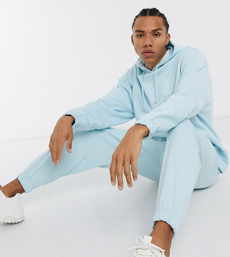 ASOS DESIGN Tall co-ord oversized hoodie with fixed hem in pastel blue with contrast stitch