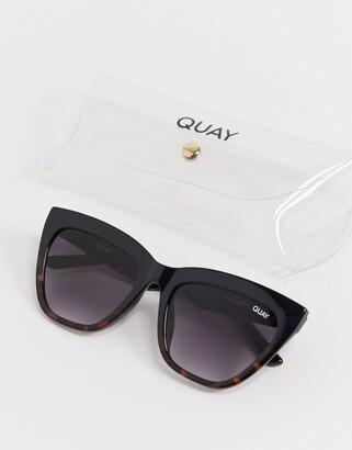Quay For Keeps womens cat eye sunglasses in black tort