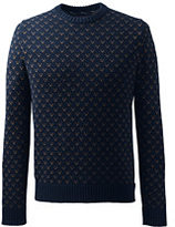 Classic Men's Tall Cotton Drifter Birdseye Crewneck Sweater Navy Birdseye Pattern